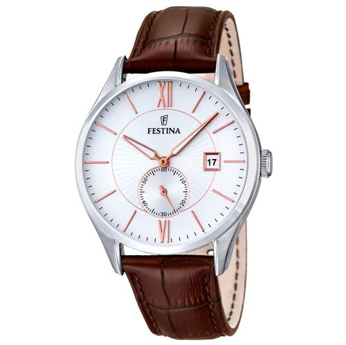 F16872/2 Festina Watch Mens Brown Round Leather Strap Watch